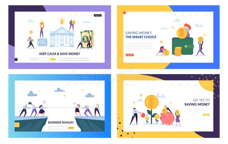 Keep Calm and Save Money Landing Page Set. Smart Choice in Business Rivalry, Earning and Keeping Capital for Company vector illustration