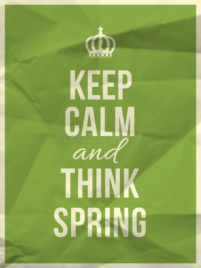 Keep calm spring quote stock photo