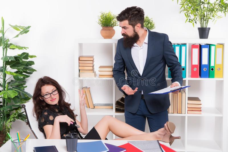 Keep calm. Stress resistance. Inability to rest relax or let down. Office stress. Negligence concept. Stress at work royalty free stock photos