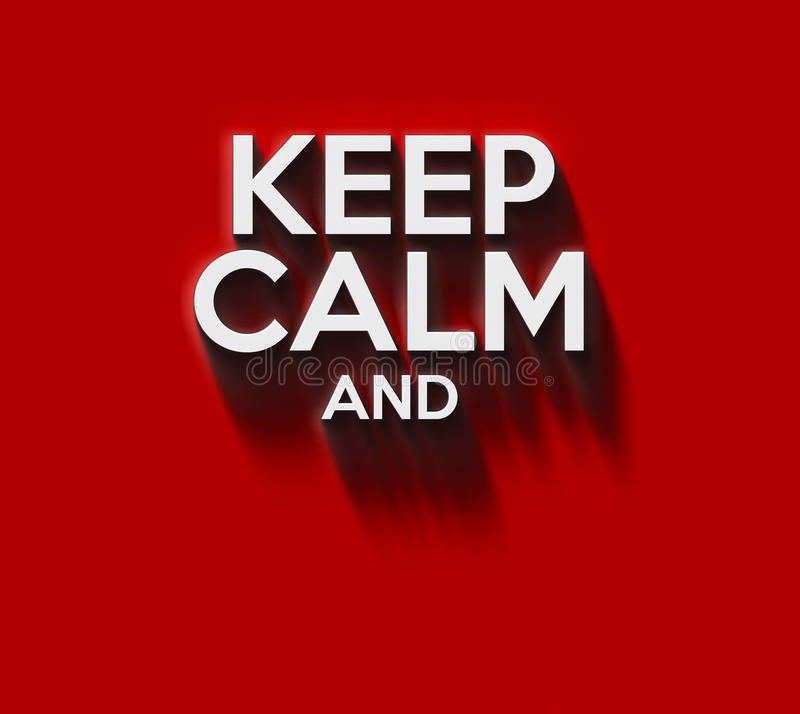 Keep calm words. In 3D on red wall vector illustration