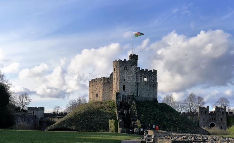Keep in Cardiff castle Wales, United Kingdom. Medieval keep in Cardiff Castle courtyard located in Wales United Kingdom on a clear spring day royalty free stock photography