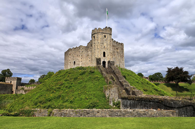 The keep of Cardiff Castle in Wales, United Kingdom stock photos