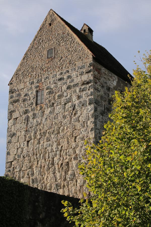 Keep of the castle Schweppermannsburg at Pfaffenhofen, Upper Palatinate, Germany.  stock images