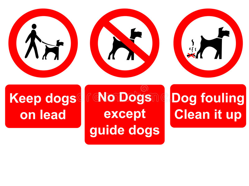 Keep dogs on lead sign. Keep dogs on lead, no dogs and clean up sign vector illustration
