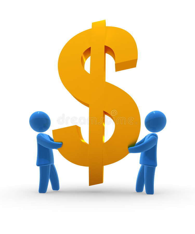 Keep Dollar. Blue figures holds golden Dollar sign. Concept of saving, backing, supporting currency or finanacial operation vector illustration