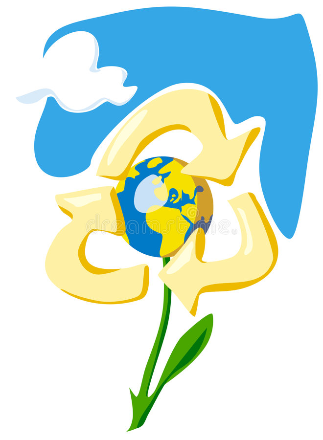 Keep the Earth - recycle. Allegory with flower, globe and sky vector illustration