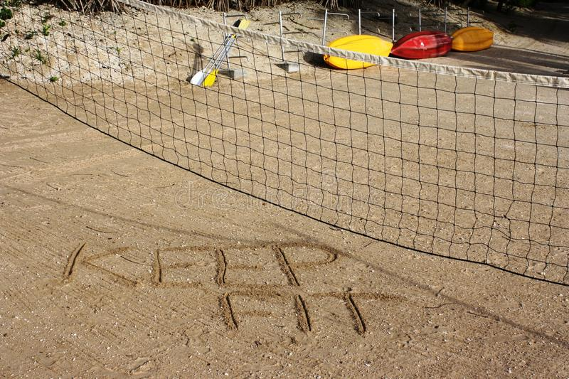 Keep fit volleyball court stock images