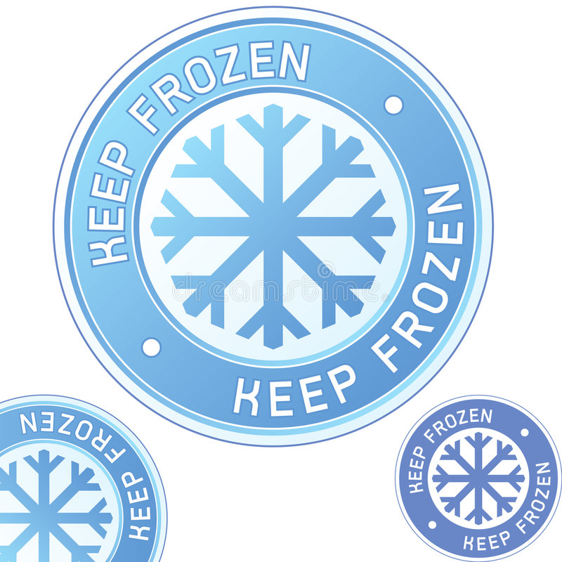 Keep frozen food packaging label badge royalty free illustration