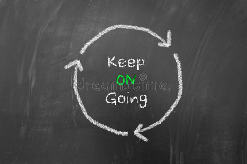 Keep going. Concept using arrows in a circle on blackboard or chalk board stock photos