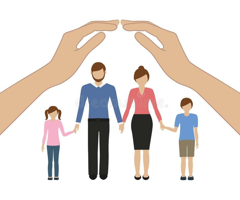 Keep hands over the family insurance concept stock illustration