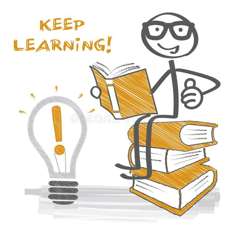 Keep learning - stick figure, books pile and bulb. Stick figure sits on books pile and reads a book stock illustration