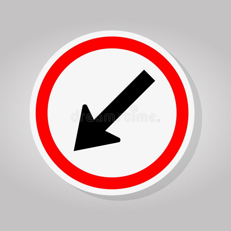 Keep Left by The Arrow Red Circle Traffic Road Sign Isolate On White Background,Vector Illustration stock illustration