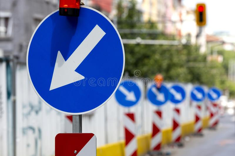 Keep Left Road Sign royalty free stock photo