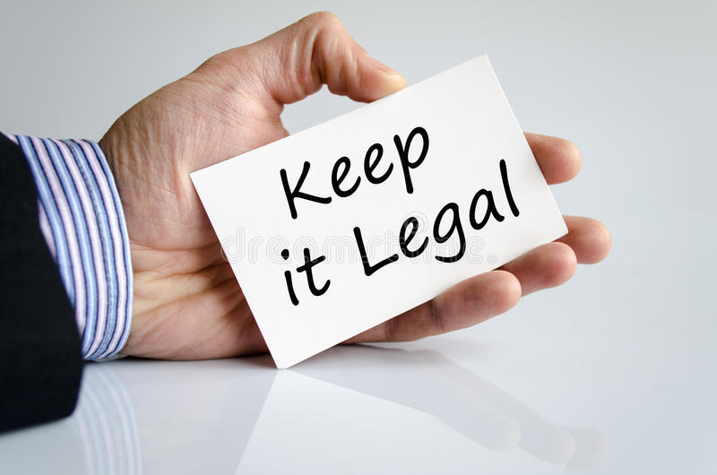 Keep it legal text concept. Isolated over white background royalty free stock image