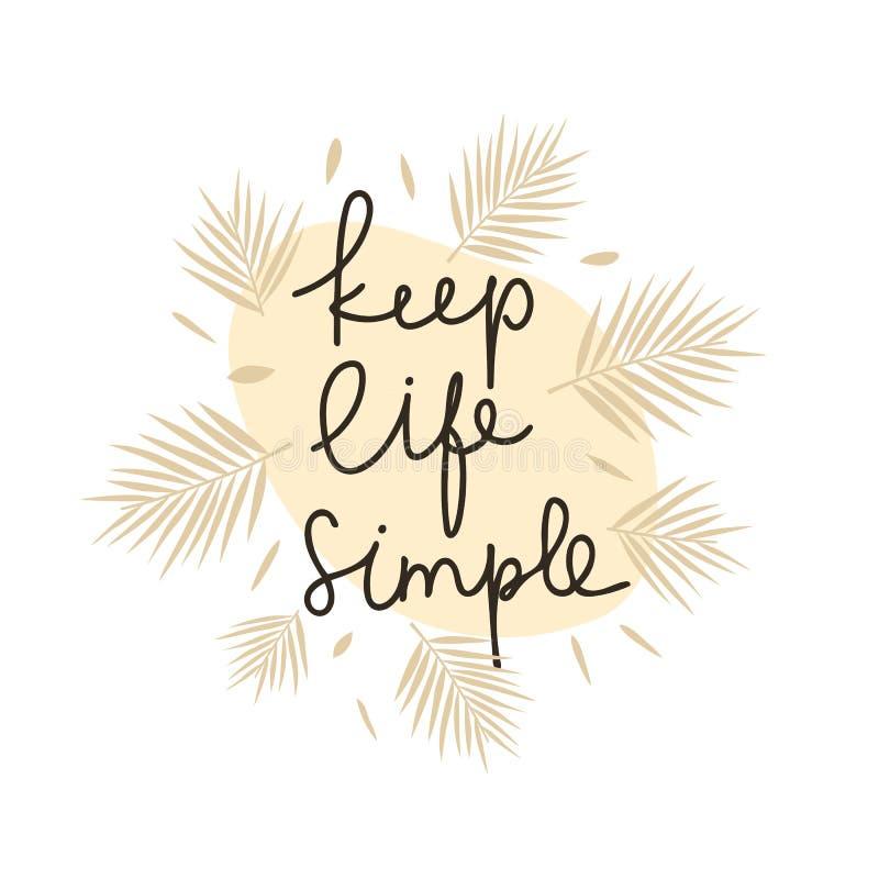 Keep life simple motivational lettering stock illustration