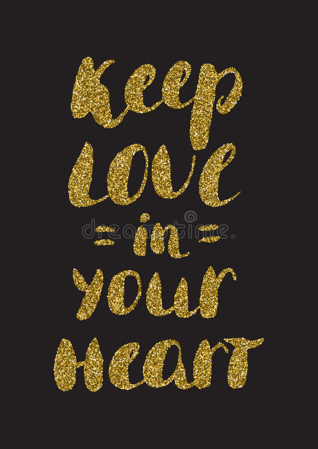 Keep love in your heart - romantic quote for valentines day card vector illustration