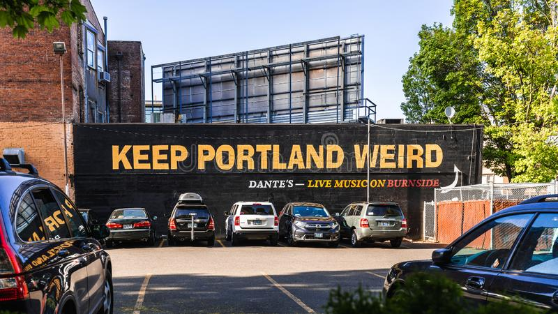 Keep Portland Weird writing in the old town of Portland royalty free stock photos