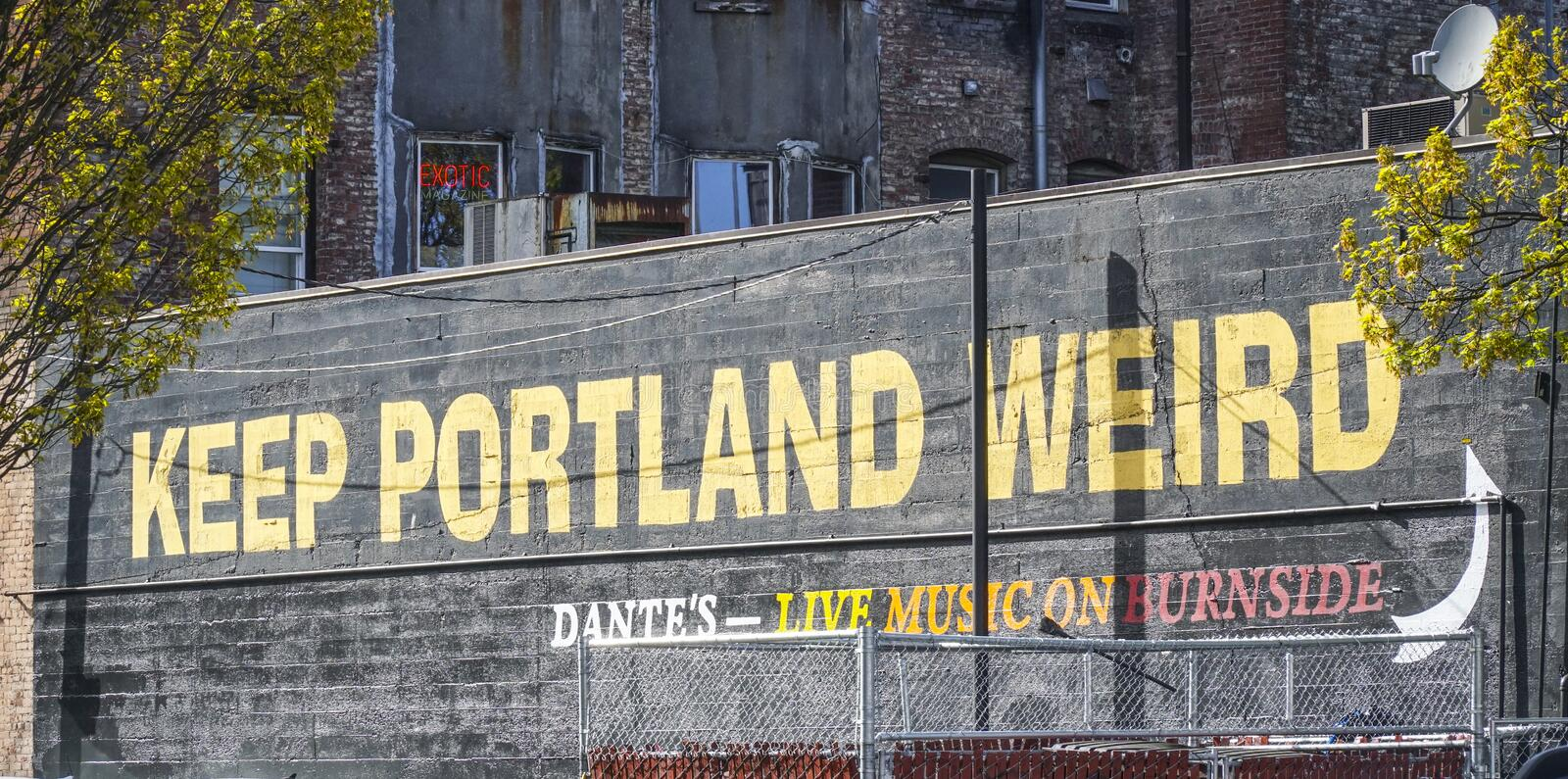 Keep Portland Weird writing in the old town of Portland - PORTLAND - OREGON - APRIL 16, 2017 royalty free stock photography
