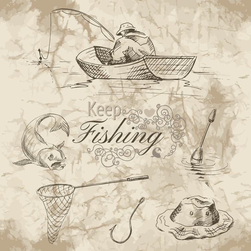 Keep que pesca o esboço ilustração royalty free