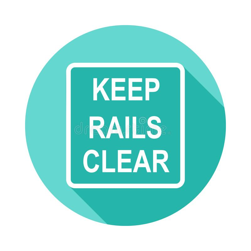 keep rails clear sign icon in Flat long shadow style stock illustration