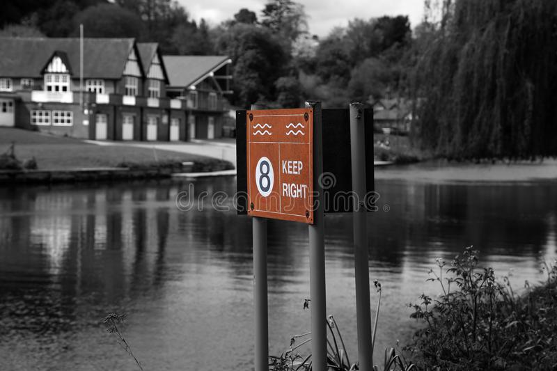 Keep right and maximum speed warning sign on the River Severn in Shrewsbury. Shropshire, United Kingdom. With selective color royalty free stock photos