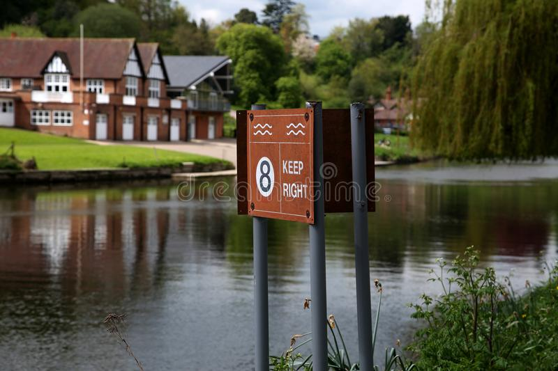 Keep right and maximum speed warning sign on the River Severn in Shrewsbury. Shropshire, United Kingdom stock image