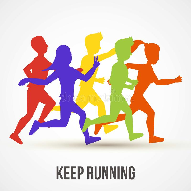 Free Keep Running Vector Illustration. World Health Day Poster Design. Save Health Concept. People Jogging, Run Training Stock Photos - 164052623