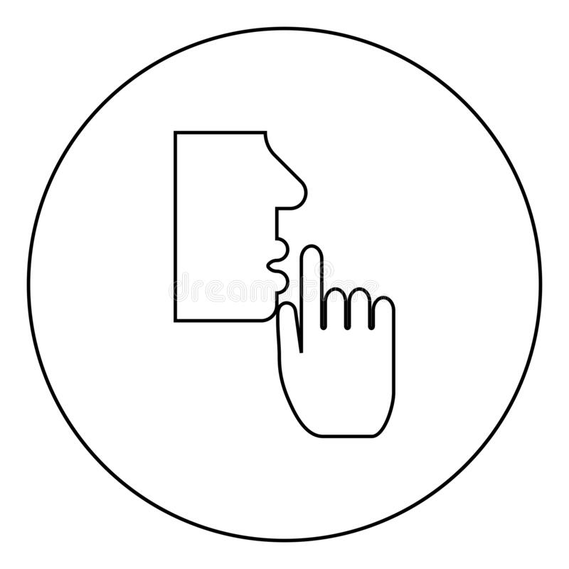 Keep silence concept Man shows index finger quietly Person closed his mouth Shut his lip Shh gesture Stop talk please theme Mute. Icon in circle round outline stock illustration