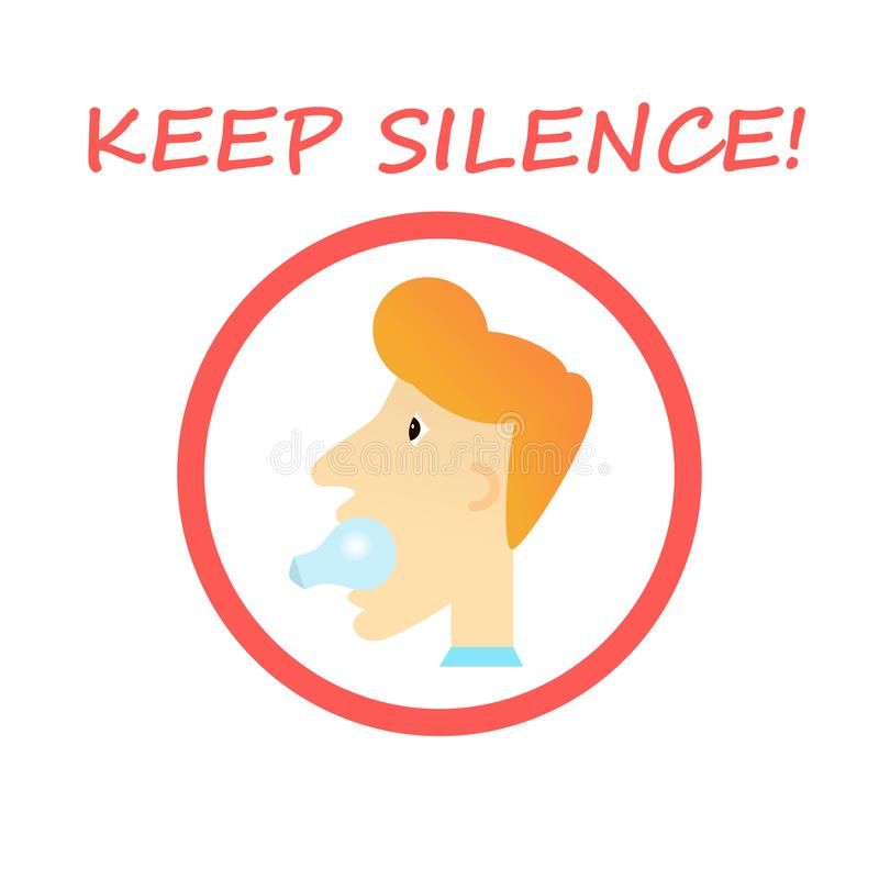 Keep Silence Sign - man with a light bulb in his mouth. royalty free stock photo