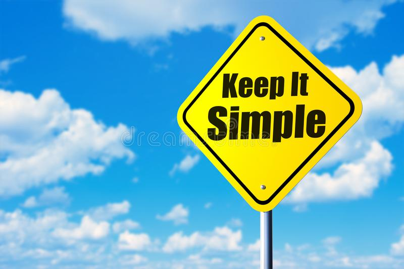 Keep it simple. Road sign and blue sky stock photography