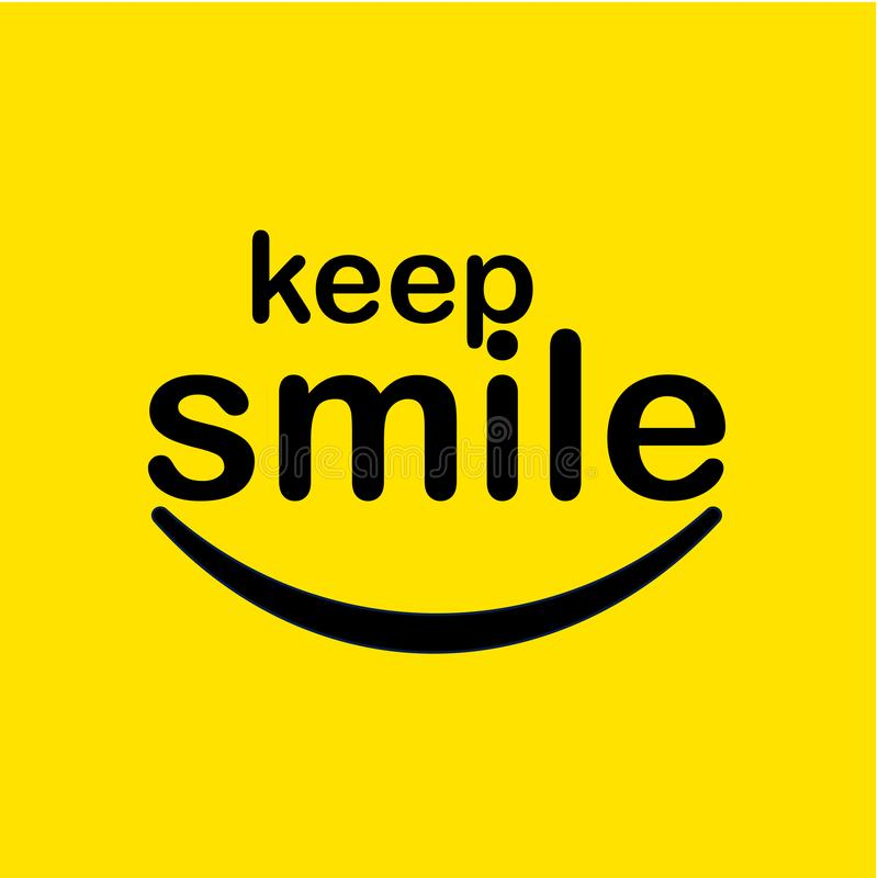 Keep Smile Vector Template Design Illustration. Keep smiling smile typography illustration background vector design poster text word yellow happy symbol image stock illustration