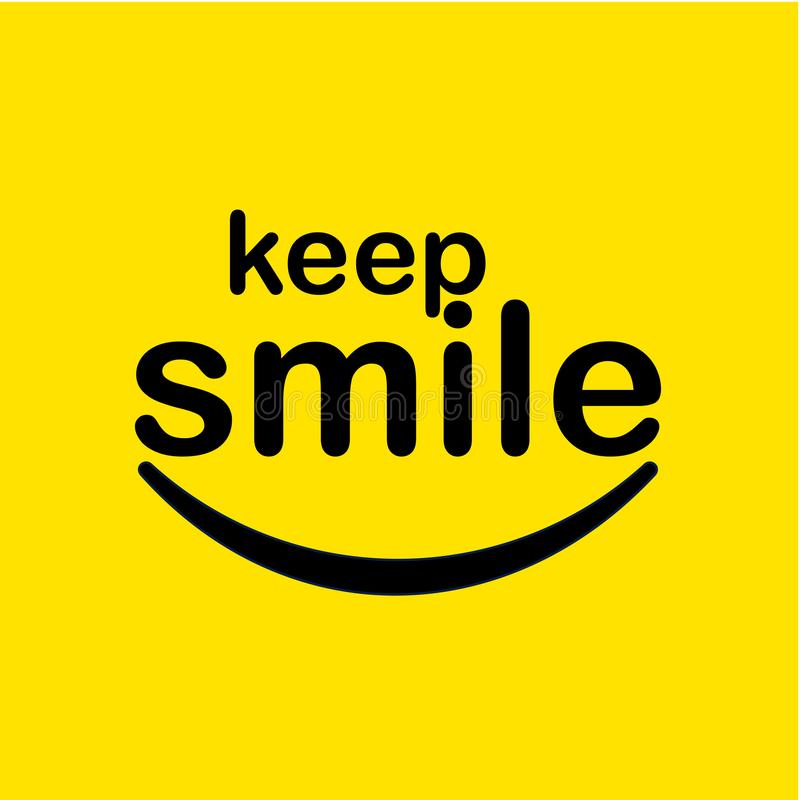 Keep Smile Vector Template Design Illustration. Keep, smiling, smile, typography, illustration, background, vector, design, poster, text, word, yellow, happy stock illustration