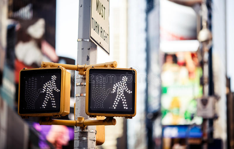 Keep walking New York traffic sign. With illuminated and blurred background royalty free stock images