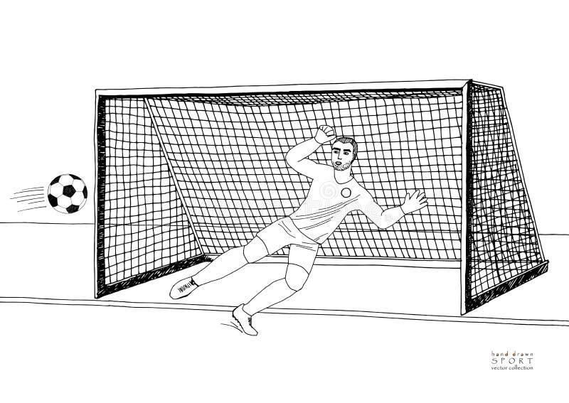 Keeper die de voetbalbal springen te vangen voetbalspel Jonge atletische kampioen Hand getrokken vector vlakke illustratie vector illustratie