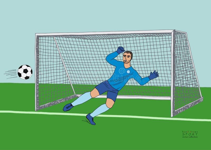 Keeper die de voetbalbal springen te vangen voetbalspel Jonge atletische kampioen Hand getrokken vector vlakke kleurrijk royalty-vrije illustratie