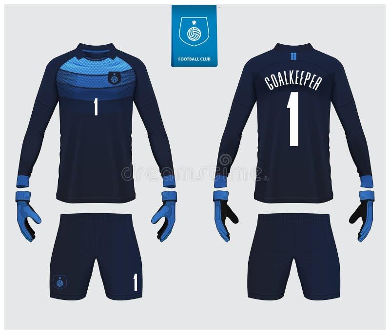 Keeper Jersey of het model van de voetbaluitrusting Keeperhandschoen en lang het malplaatjeontwerp van kokerjersey De spot van de vector illustratie