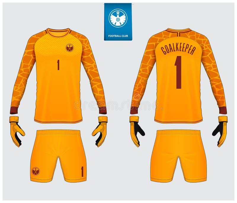 Keeper Jersey of het model van de voetbaluitrusting Keeperhandschoen en lang het malplaatjeontwerp van kokerjersey Zonnepaneel en stock illustratie