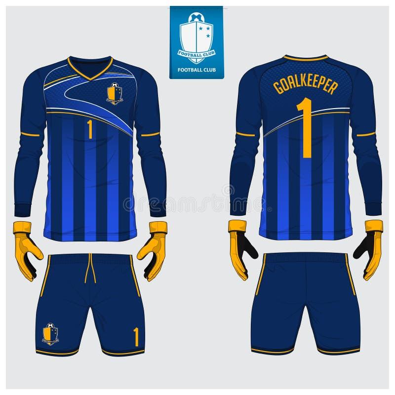 Keeper Jersey of voetbaluitrusting, lange koker Jersey, het malplaatjeontwerp van de keeperhandschoen T-shirtspot omhoog Voor, ac vector illustratie