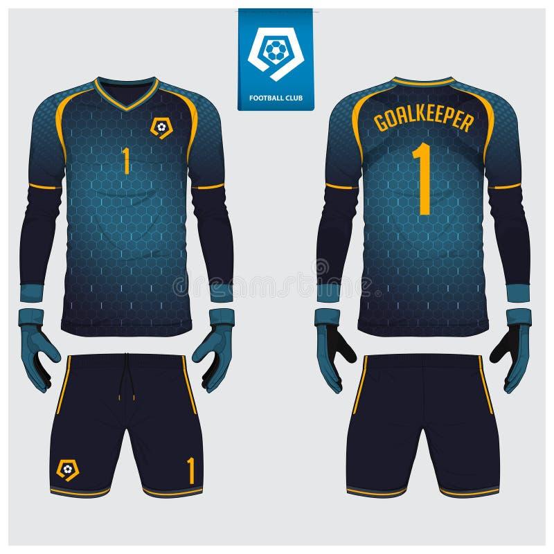 Keeper Jersey of voetbaluitrusting, lange koker Jersey, het malplaatjeontwerp van de keeperhandschoen T-shirtspot omhoog Voor, ac royalty-vrije illustratie