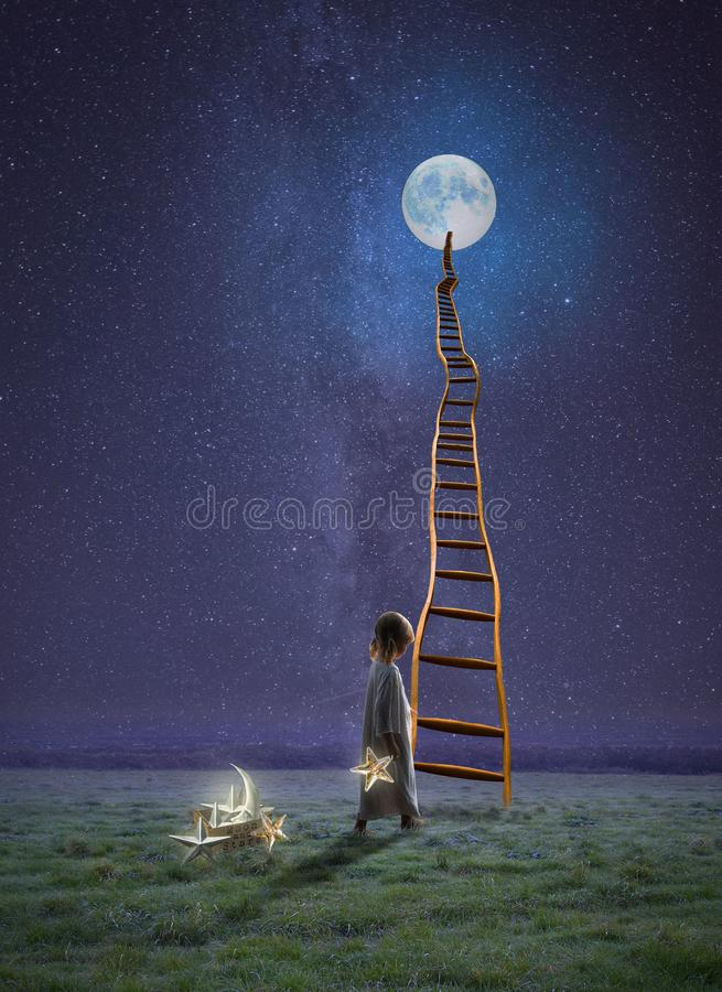 Keeper of the stars and moon stock photos