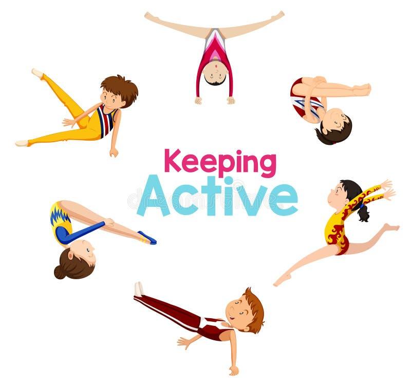 Keeping active logo with gymnastics athlete vector illustration