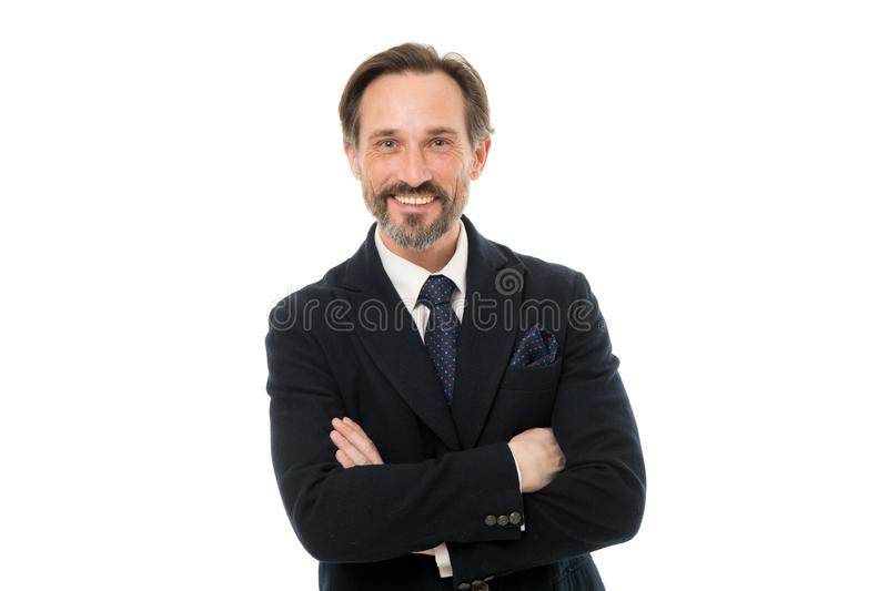 Keeping arms crossed. Senior man with grey beard hair. Mature businessman in formal wear. Bearded mature man in business stock photo