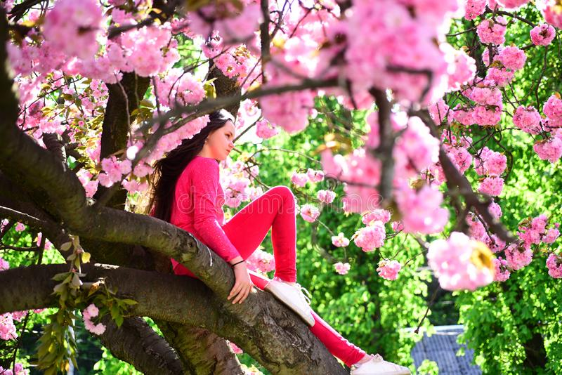 Keeping the chic look by wearing a pair of sneakers. Pretty girl with fashion look. Fashion clothing for spring stock photography