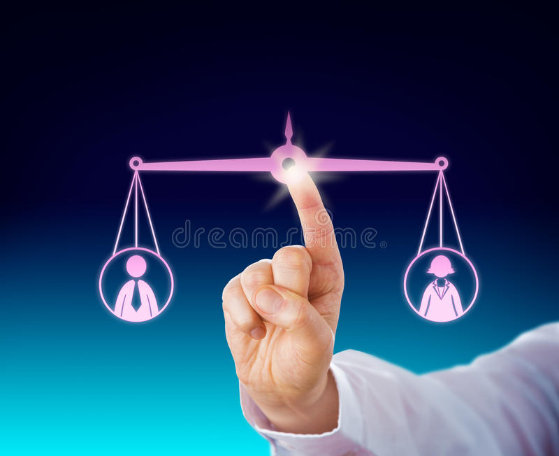 Keeping A Female And Male Worker Balanced By Touch stock images