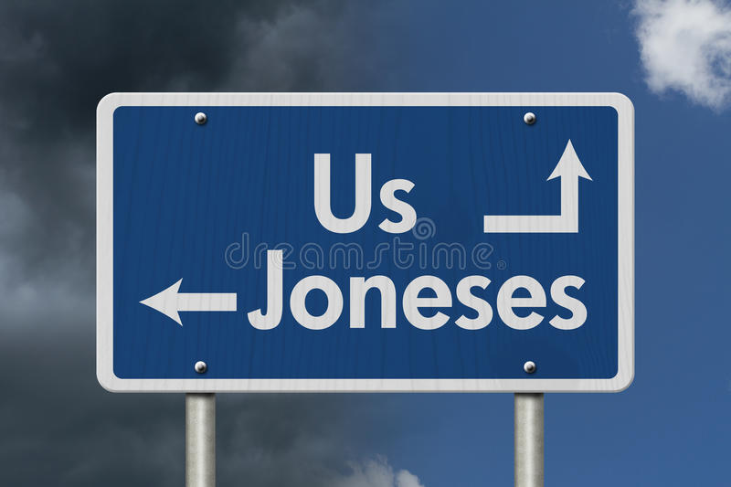 Keeping up with the Joneses royalty free stock image