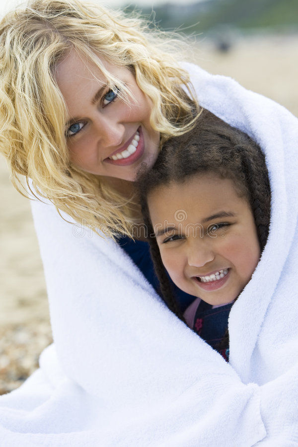 Download Keeping Warm At The Beach stock image. Image of play, happy - 5636953