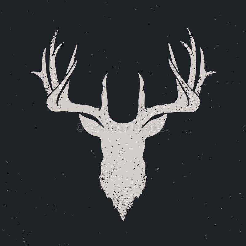 Keert het herten hoofdsilhouet om vector illustratie