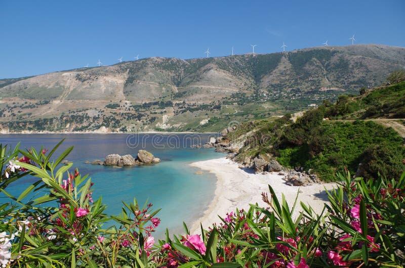 Kefalonia idyllique de plage de Vouti, Grèce photo libre de droits