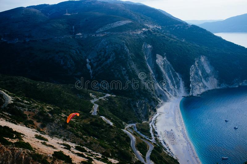 Greece - Kefalonia - Myrtos Beach sunset 8. Kefalonia is the largest of the Ionian Islands in western Greece and the 6th largest island in Greece, Myrtos beach royalty free stock photography