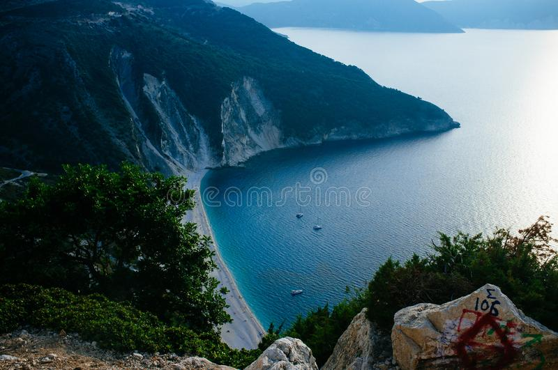 Greece - Kefalonia - Myrtos Beach sunset 7. Kefalonia is the largest of the Ionian Islands in western Greece and the 6th largest island in Greece, Myrtos beach stock photo